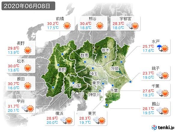 関東・甲信地方(2020年06月08日の天気