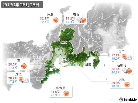 東海地方(2020年06月08日の天気