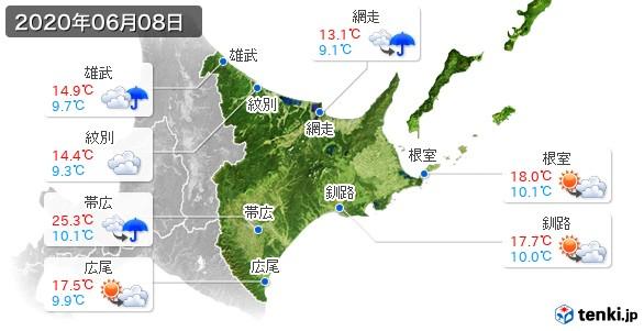 道東(2020年06月08日の天気