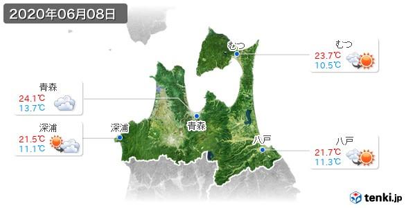 青森県(2020年06月08日の天気