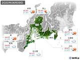 2020年06月09日の東海地方の実況天気