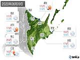2020年06月09日の道東の実況天気