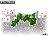 2020年06月09日の鳥取県の実況天気