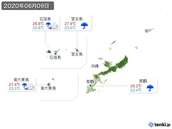 沖縄地方(2020年06月09日の天気