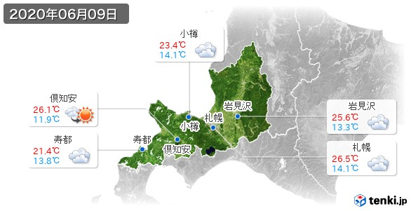 道央(2020年06月09日の天気