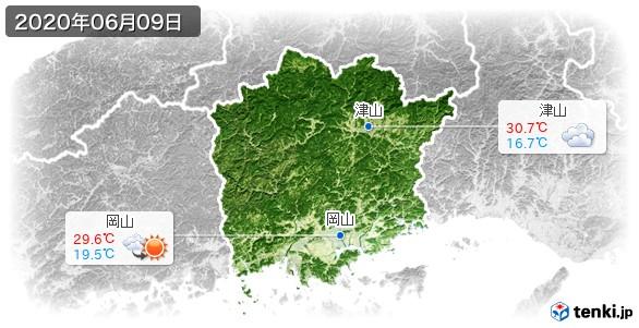 岡山県(2020年06月09日の天気