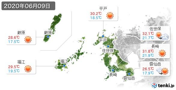長崎県(2020年06月09日の天気