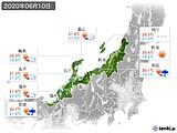 2020年06月10日の北陸地方の実況天気