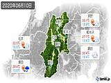 2020年06月10日の長野県の実況天気