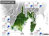 2020年06月10日の静岡県の実況天気