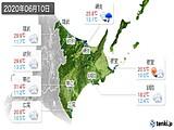 2020年06月10日の道東の実況天気