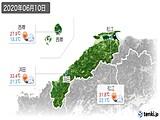 2020年06月10日の島根県の実況天気
