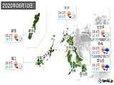2020年06月10日の長崎県の実況天気