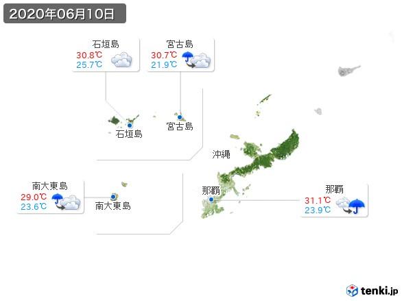 沖縄地方(2020年06月10日の天気