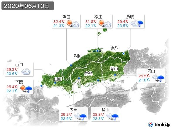 中国地方(2020年06月10日の天気