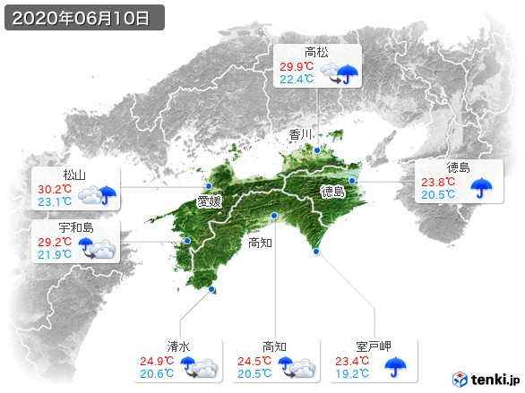 四国地方(2020年06月10日の天気