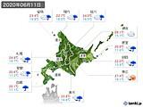 2020年06月11日の北海道地方の実況天気
