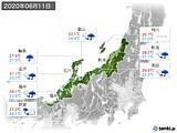 2020年06月11日の北陸地方の実況天気