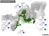 2020年06月11日の東海地方の実況天気