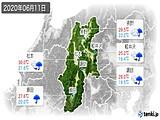 2020年06月11日の長野県の実況天気
