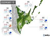 2020年06月11日の道東の実況天気