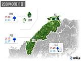 2020年06月11日の島根県の実況天気