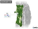 2020年06月11日の秋田県の実況天気