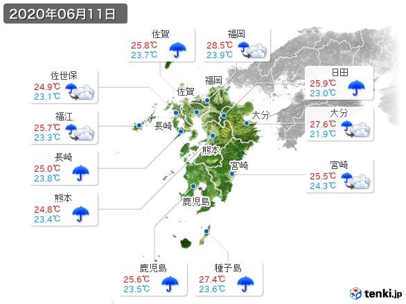 九州地方(2020年06月11日の天気
