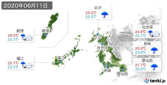 長崎県(2020年06月11日の天気