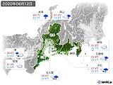 2020年06月12日の東海地方の実況天気