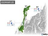 2020年06月12日の石川県の実況天気