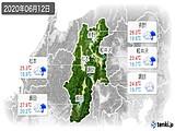 2020年06月12日の長野県の実況天気