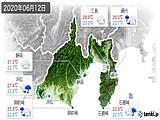 2020年06月12日の静岡県の実況天気