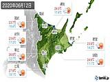 2020年06月12日の道東の実況天気