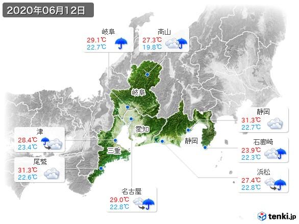東海地方(2020年06月12日の天気