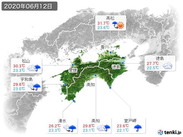 四国地方(2020年06月12日の天気