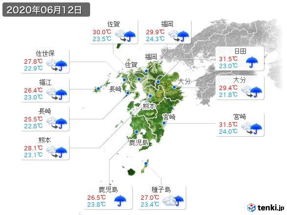 九州地方(2020年06月12日の天気