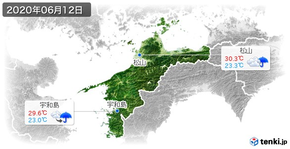 愛媛県(2020年06月12日の天気