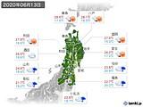 2020年06月13日の東北地方の実況天気