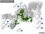 2020年06月13日の東海地方の実況天気