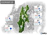 2020年06月13日の長野県の実況天気