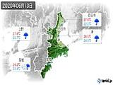 2020年06月13日の三重県の実況天気