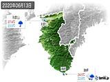 2020年06月13日の和歌山県の実況天気