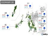 2020年06月13日の長崎県の実況天気