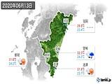 2020年06月13日の宮崎県の実況天気