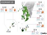 2020年06月13日の鹿児島県の実況天気
