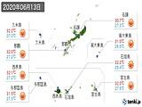 2020年06月13日の沖縄県の実況天気