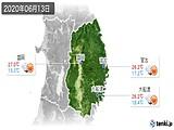 2020年06月13日の岩手県の実況天気