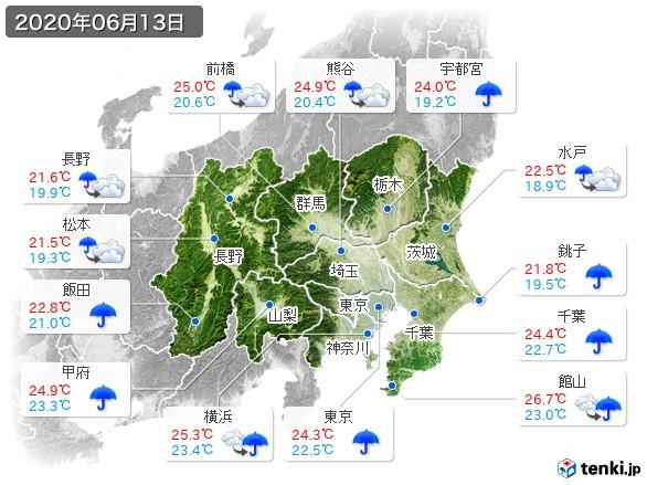 関東・甲信地方(2020年06月13日の天気