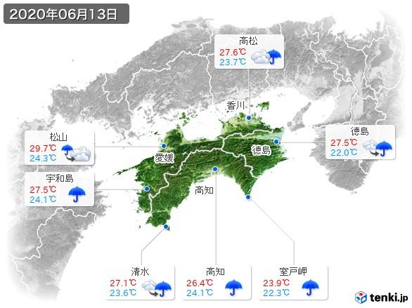 四国地方(2020年06月13日の天気